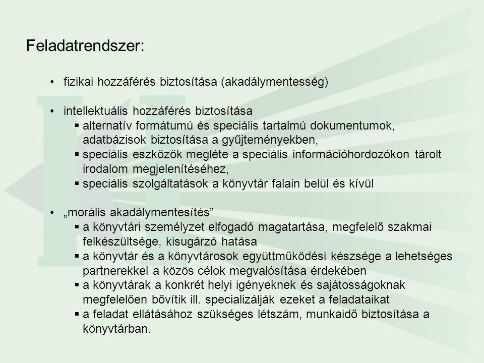"""Feladatrendszer: fizikai hozzáférés biztosítása (akadálymentesség) intellektuális hozzáférés biztosítása  alternatív formátumú és speciális tartalmú dokumentumok, adatbázisok biztosítása a gyűjteményekben,  speciális eszközök megléte a speciális információhordozókon tárolt irodalom megjelenítéséhez,  speciális szolgáltatások a könyvtár falain belül és kívül """"morális akadálymentesítés  a könyvtári személyzet elfogadó magatartása, megfelelő szakmai felkészültsége, kisugárzó hatása  a könyvtár és a könyvtárosok együttműködési készsége a lehetséges partnerekkel a közös célok megvalósítása érdekében  a könyvtárak a konkrét helyi igényeknek és sajátosságoknak megfelelően bővítik ill."""