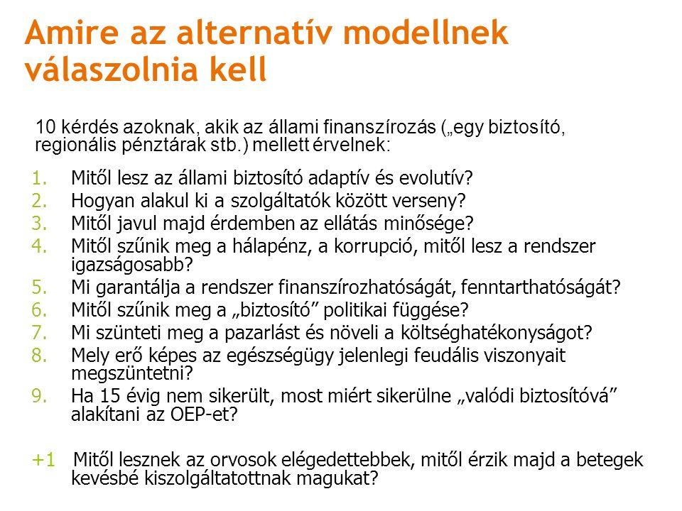 Amire az alternatív modellnek válaszolnia kell 1.Mitől lesz az állami biztosító adaptív és evolutív.