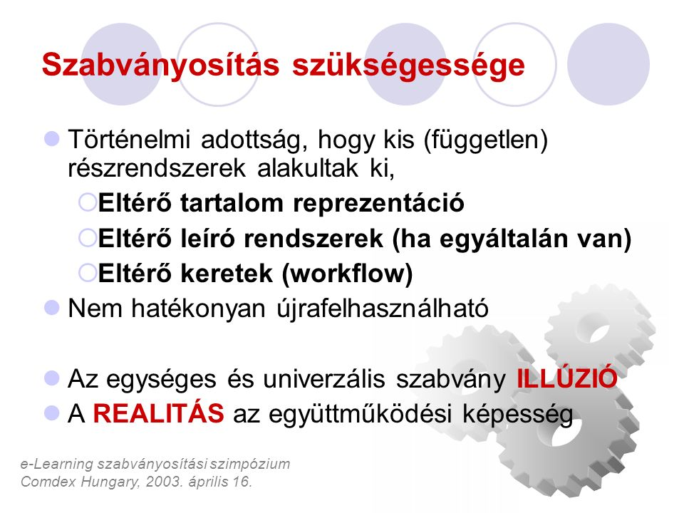 e-Learning szabványosítási szimpózium Comdex Hungary, 2003. április 16. Szabványosítás szükségessége Történelmi adottság, hogy kis (független) részren