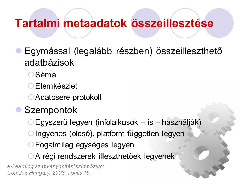 e-Learning szabványosítási szimpózium Comdex Hungary, 2003. április 16. Tartalmi metaadatok összeillesztése Egymással (legalább részben) összeilleszth