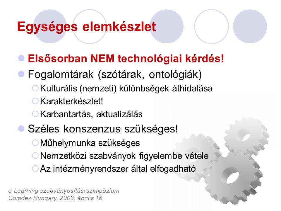 e-Learning szabványosítási szimpózium Comdex Hungary, 2003. április 16. Egységes elemkészlet Elsősorban NEM technológiai kérdés! Fogalomtárak (szótára