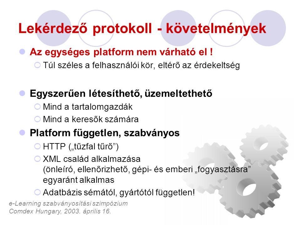 e-Learning szabványosítási szimpózium Comdex Hungary, 2003. április 16. Lekérdező protokoll - követelmények Az egységes platform nem várható el !  Tú