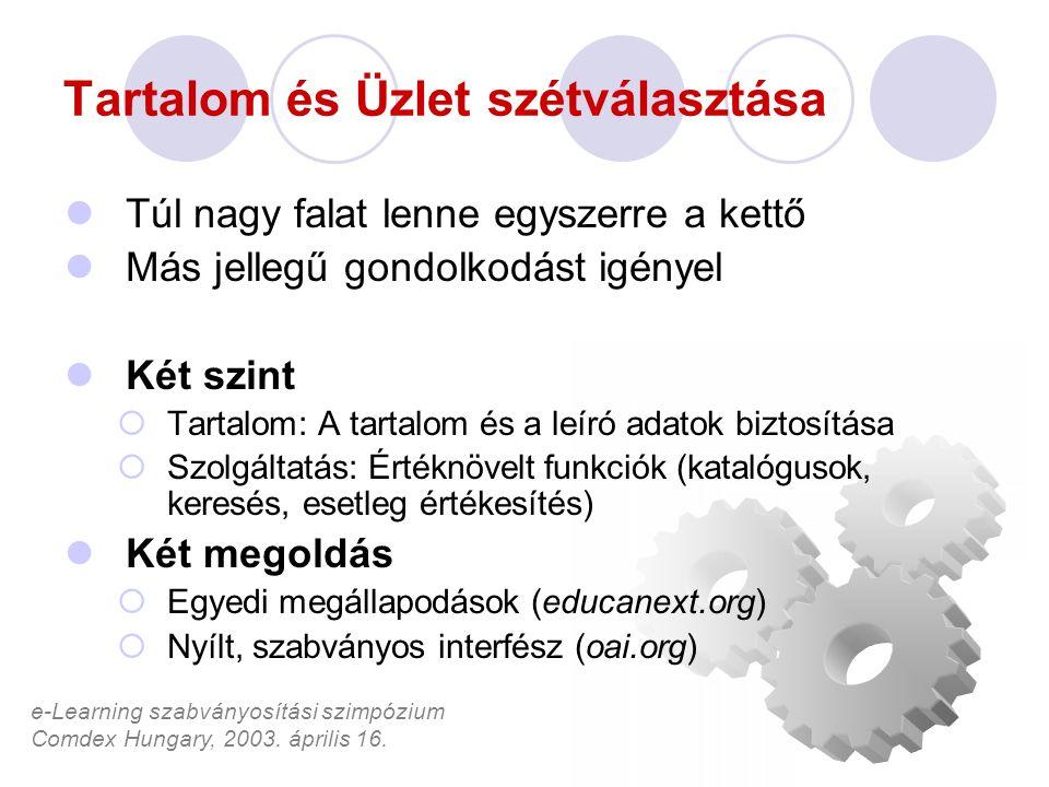 e-Learning szabványosítási szimpózium Comdex Hungary, 2003. április 16. Tartalom és Üzlet szétválasztása Túl nagy falat lenne egyszerre a kettő Más je