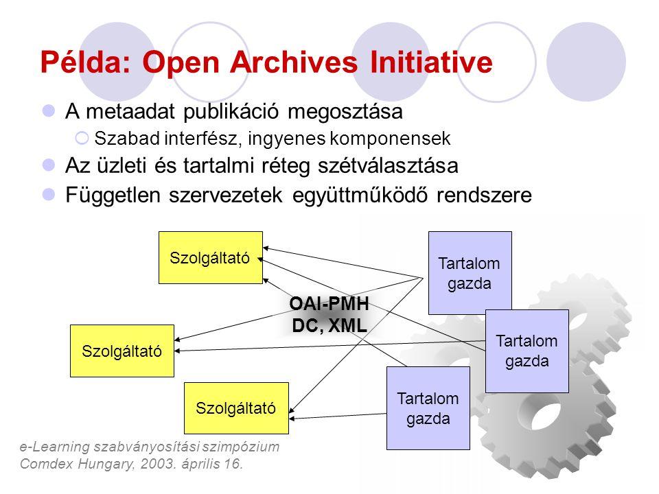 e-Learning szabványosítási szimpózium Comdex Hungary, 2003. április 16. Példa: Open Archives Initiative A metaadat publikáció megosztása  Szabad inte