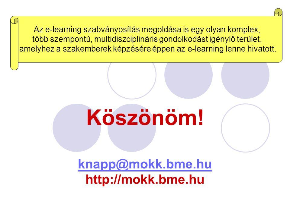 Köszönöm! knapp@mokk.bme.hu http://mokk.bme.hu knapp@mokk.bme.hu Az e-learning szabványosítás megoldása is egy olyan komplex, több szempontú, multidis
