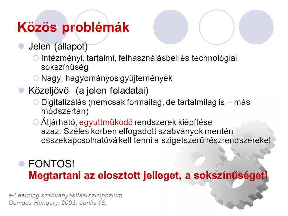 e-Learning szabványosítási szimpózium Comdex Hungary, 2003. április 16. Közös problémák Jelen (állapot)  Intézményi, tartalmi, felhasználásbeli és te