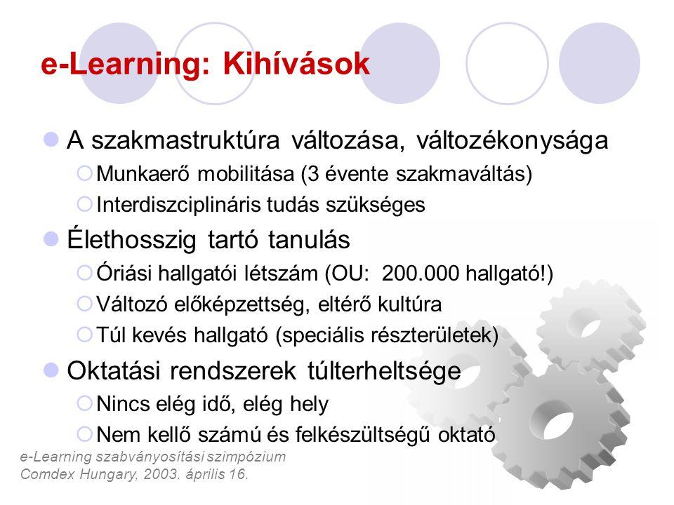 e-Learning szabványosítási szimpózium Comdex Hungary, 2003. április 16. e-Learning: Kihívások A szakmastruktúra változása, változékonysága  Munkaerő