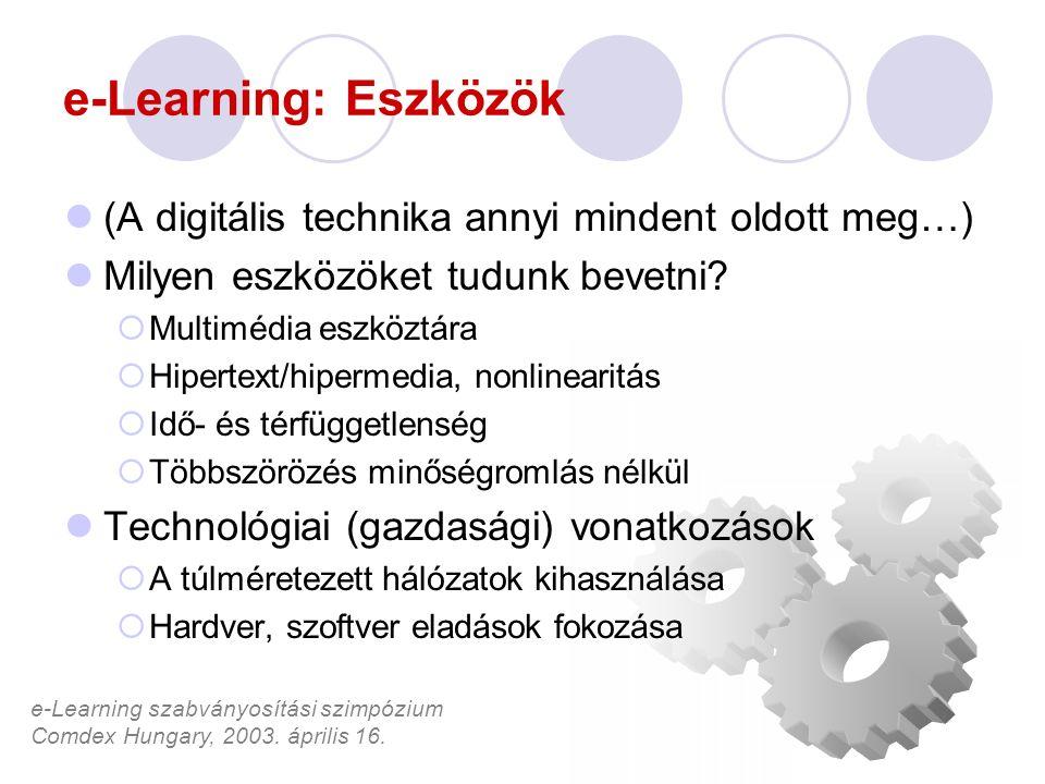 e-Learning szabványosítási szimpózium Comdex Hungary, 2003. április 16. e-Learning: Eszközök (A digitális technika annyi mindent oldott meg…) Milyen e