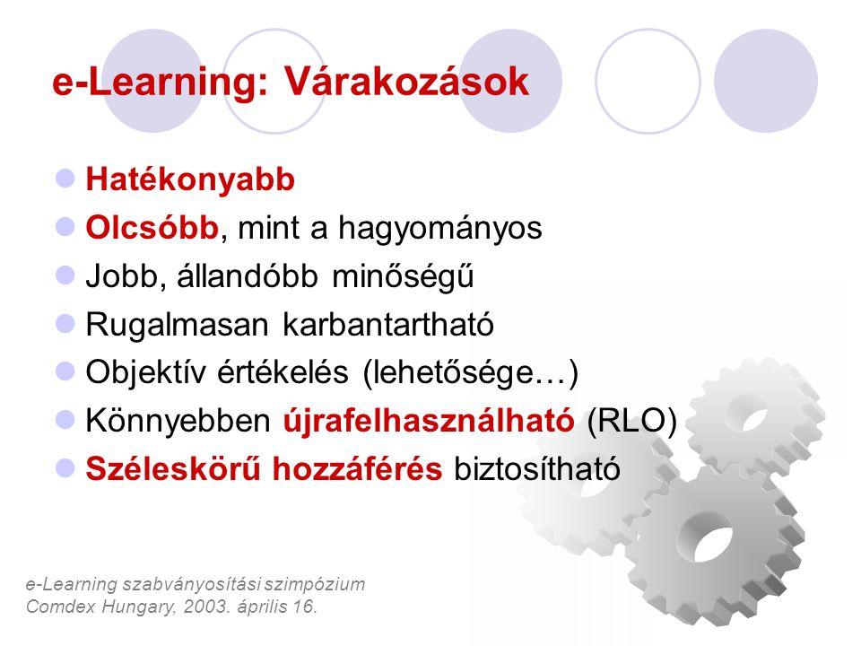 e-Learning szabványosítási szimpózium Comdex Hungary, 2003. április 16. e-Learning: Várakozások Hatékonyabb Olcsóbb, mint a hagyományos Jobb, állandób