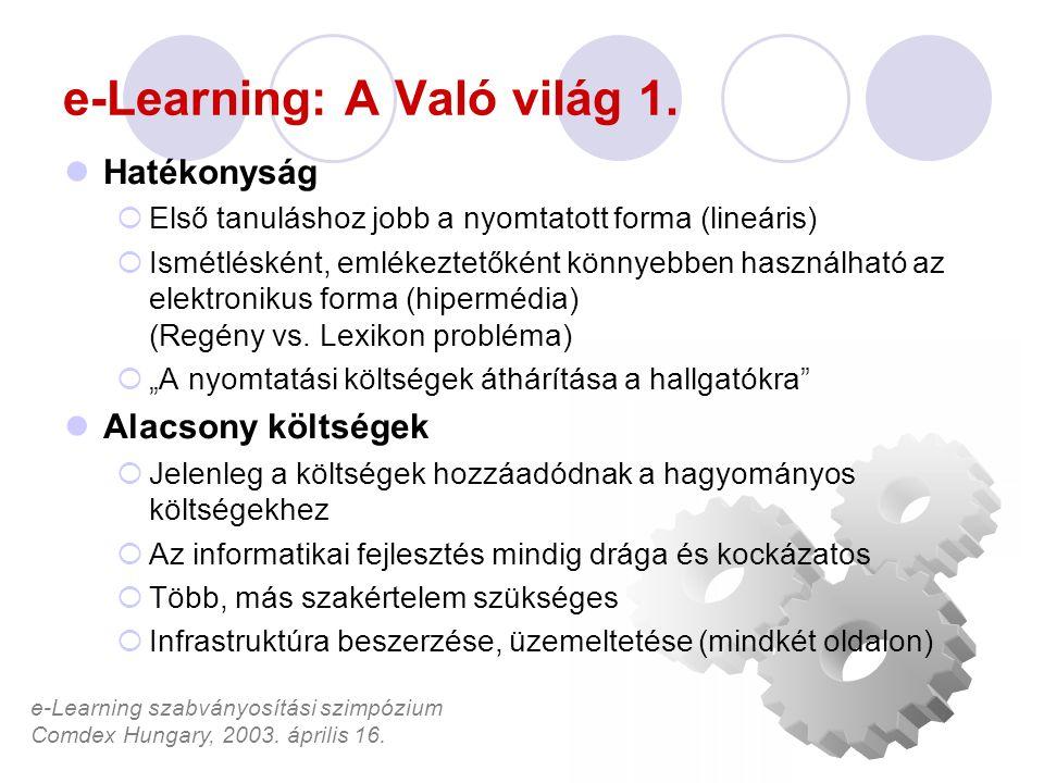 e-Learning szabványosítási szimpózium Comdex Hungary, 2003. április 16. e-Learning: A Való világ 1. Hatékonyság  Első tanuláshoz jobb a nyomtatott fo