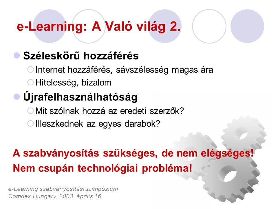 e-Learning szabványosítási szimpózium Comdex Hungary, 2003. április 16. e-Learning: A Való világ 2. Széleskörű hozzáférés  Internet hozzáférés, sávsz