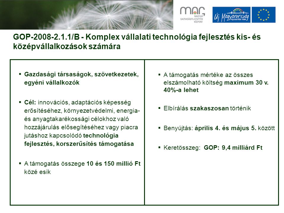 GOP-2008-2.1.1/B - Komplex vállalati technológia fejlesztés kis- és középvállalkozások számára  Gazdasági társaságok, szövetkezetek, egyéni vállalkozók  Cél: innovációs, adaptációs képesség erősítéséhez, környezetvédelmi, energia- és anyagtakarékossági célokhoz való hozzájárulás elősegítéséhez vagy piacra jutáshoz kapcsolódó technológia fejlesztés, korszerűsítés támogatása  A támogatás összege 10 és 150 millió Ft közé esik  A támogatás mértéke az összes elszámolható költség maximum 30 v.