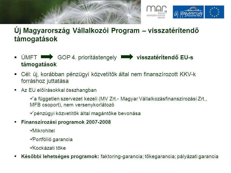 Új Magyarország Vállalkozói Program – visszatérítendő támogatások  ÚMFT GOP 4. prioritástengely visszatérítendő EU-s támogatások  Cél: új, korábban