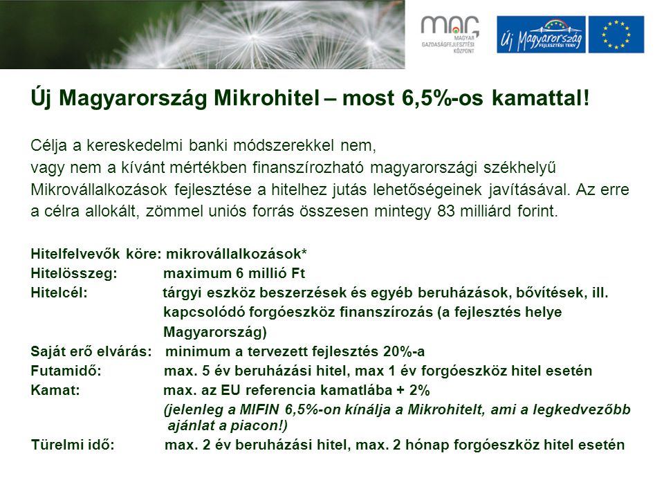 Új Magyarország Mikrohitel – most 6,5%-os kamattal! Célja a kereskedelmi banki módszerekkel nem, vagy nem a kívánt mértékben finanszírozható magyarors