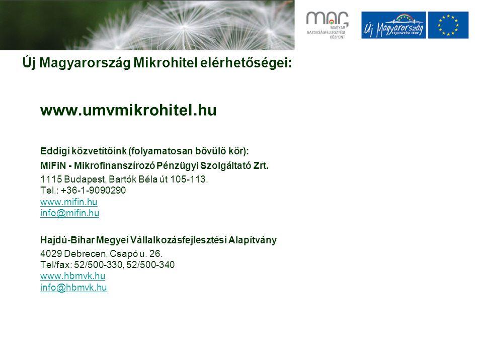 Új Magyarország Mikrohitel elérhetőségei: www.umvmikrohitel.hu Eddigi közvetítőink (folyamatosan bővülő kör): MiFiN - Mikrofinanszírozó Pénzügyi Szolg