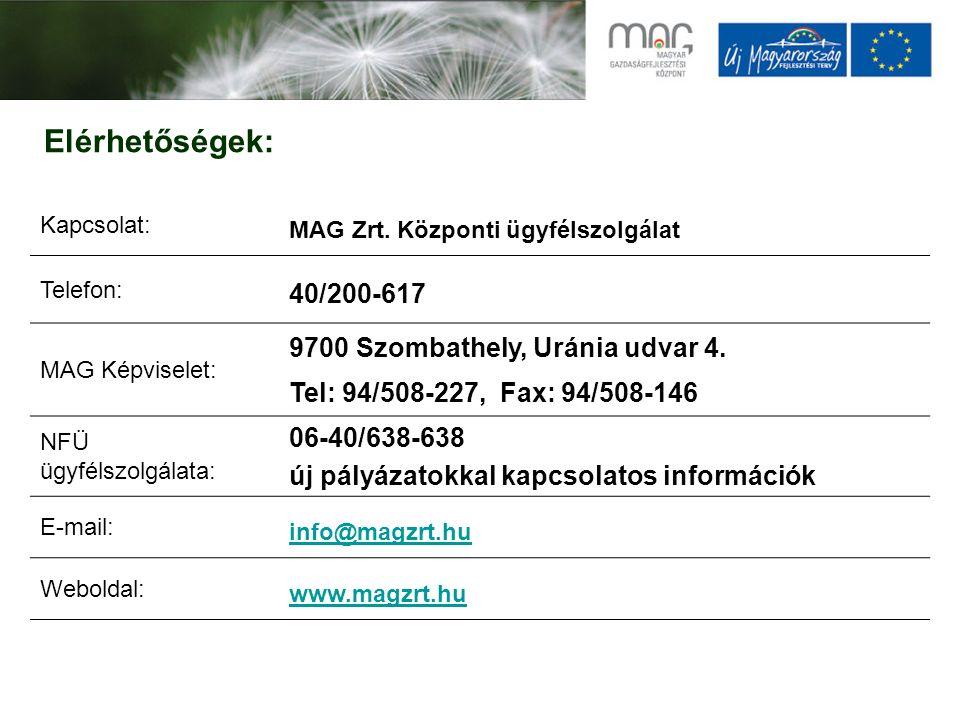 Elérhetőségek: Kapcsolat: MAG Zrt. Központi ügyfélszolgálat Telefon: 40/200-617 MAG Képviselet: 9700 Szombathely, Uránia udvar 4. Tel: 94/508-227, Fax