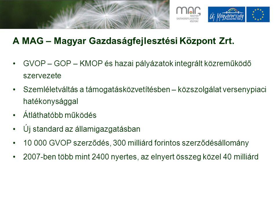 A MAG – Magyar Gazdaságfejlesztési Központ Zrt. GVOP – GOP – KMOP és hazai pályázatok integrált közreműködő szervezete Szemléletváltás a támogatásközv