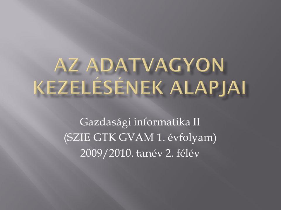 Gazdasági informatika II (SZIE GTK GVAM 1. évfolyam) 2009/2010. tanév 2. félév