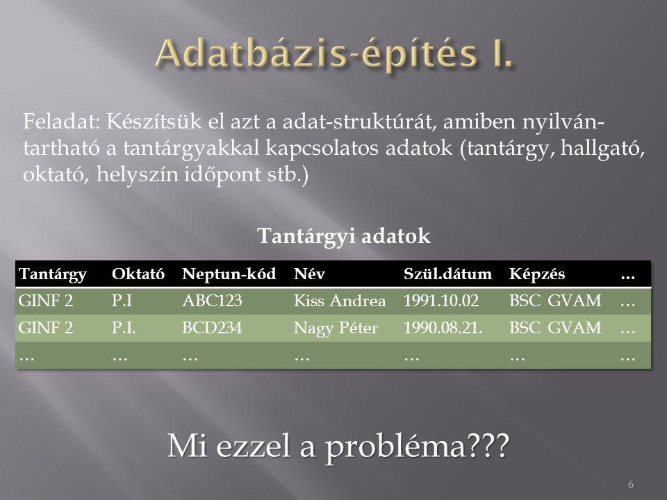 7  Problémák:  Több jelenséget (egyedtípust) mosunk egybe: tárgy, hallgató, képzés, oktató stb.