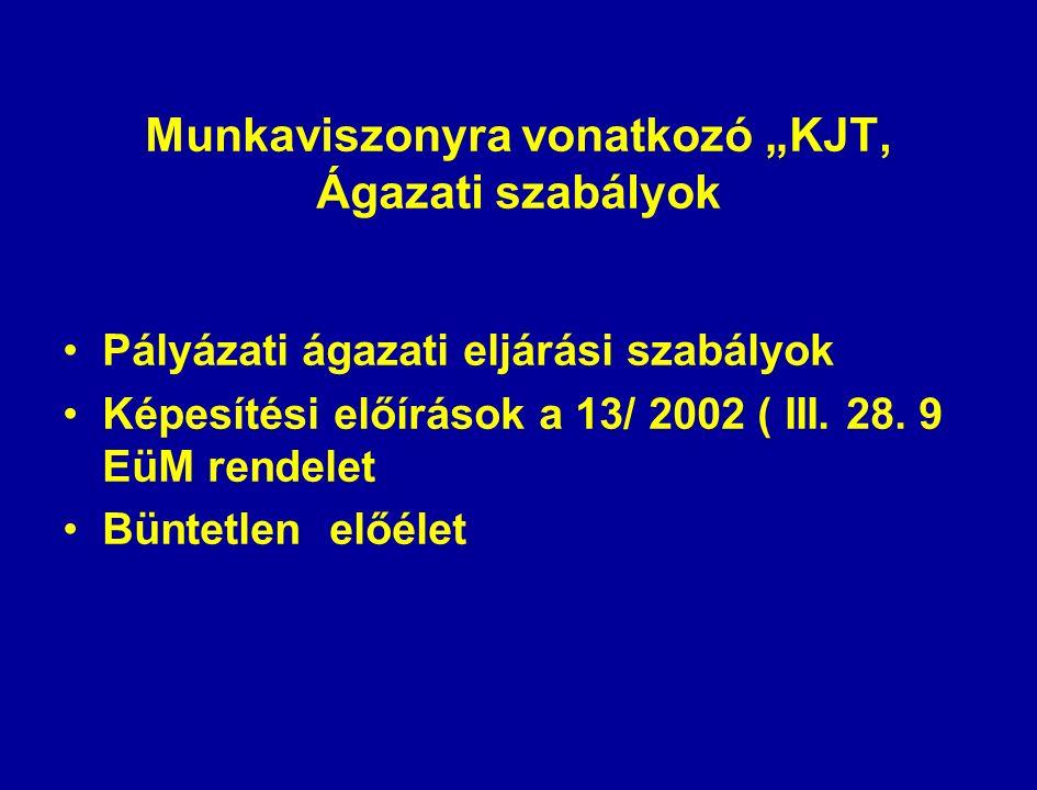 """Munkaviszonyra vonatkozó """"KJT, Ágazati szabályok Pályázati ágazati eljárási szabályok Képesítési előírások a 13/ 2002 ( III."""