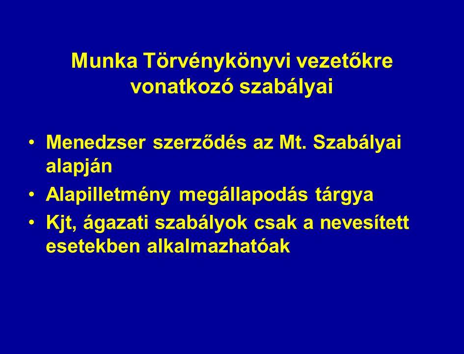 Munka Törvénykönyvi vezetőkre vonatkozó szabályai Menedzser szerződés az Mt.