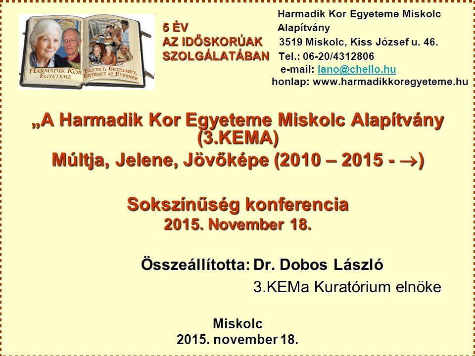 Harmadik Kor Egyeteme Miskolc 5 ÉV Alapítvány AZ IDŐSKORÚAK 3519 Miskolc, Kiss József u.