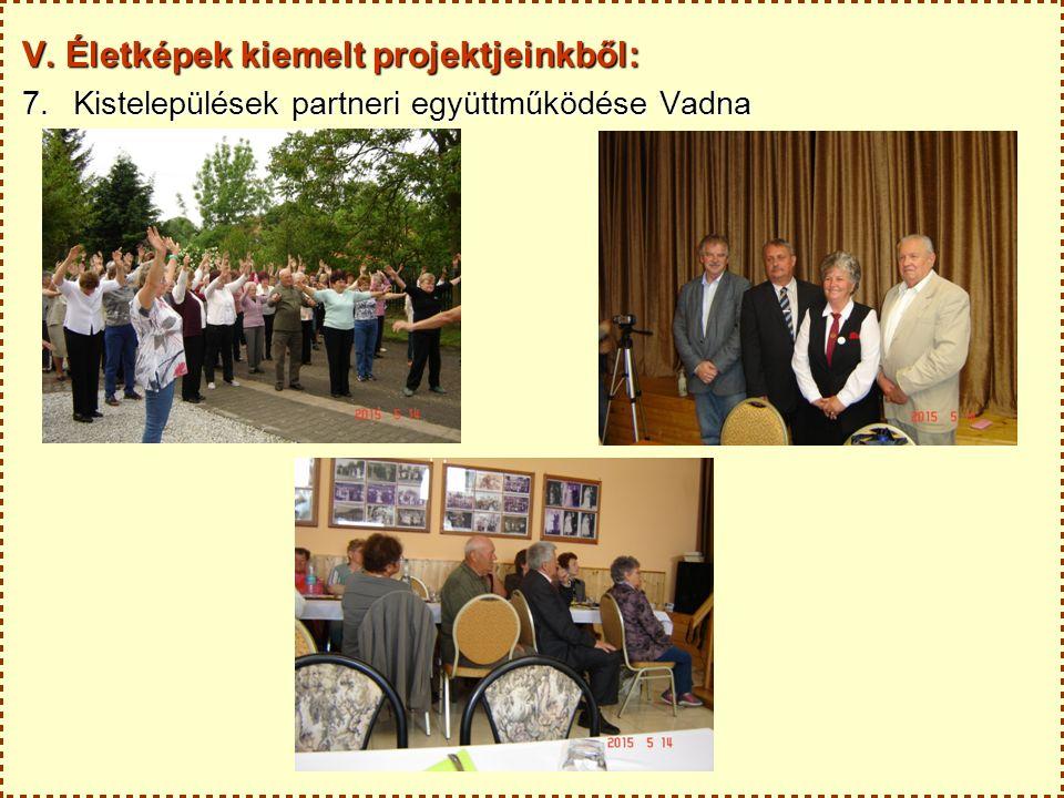 V. Életképek kiemelt projektjeinkből: 7.Kistelepülések partneri együttműködése Vadna