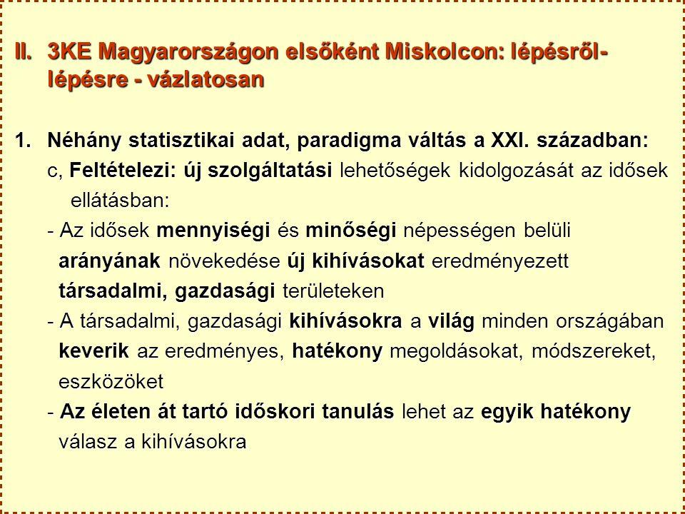 II.3KE Magyarországon elsőként Miskolcon: lépésről- lépésre - vázlatosan 2.Miért éppen Miskolcon.