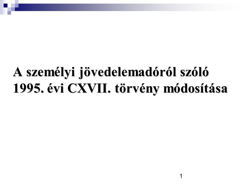 1 A személyi jövedelemadóról szóló 1995. évi CXVII. törvény módosítása
