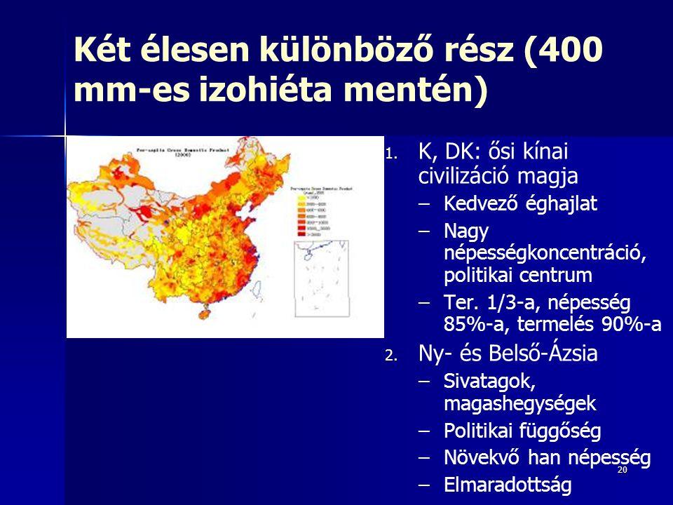 20 Két élesen különböző rész (400 mm-es izohiéta mentén) 1. 1. K, DK: ősi kínai civilizáció magja – –Kedvező éghajlat – –Nagy népességkoncentráció, po