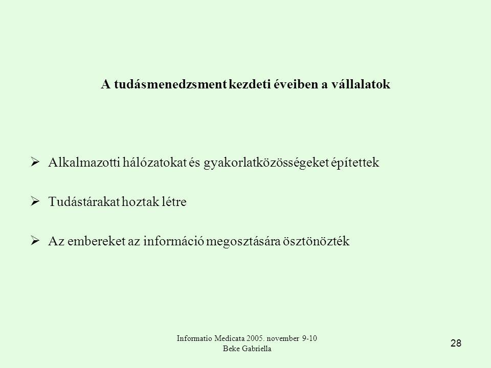 28 A tudásmenedzsment kezdeti éveiben a vállalatok  Alkalmazotti hálózatokat és gyakorlatközösségeket építettek  Tudástárakat hoztak létre  Az embereket az információ megosztására ösztönözték Informatio Medicata 2005.