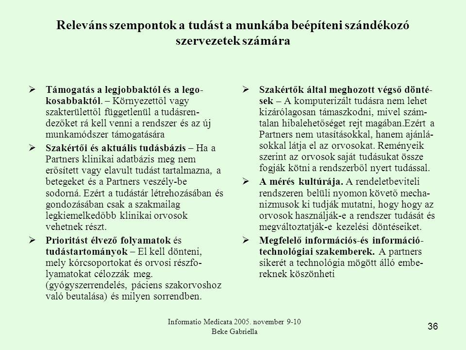 36 Releváns szempontok a tudást a munkába beépíteni szándékozó szervezetek számára  Támogatás a legjobbaktól és a lego- kosabbaktól.