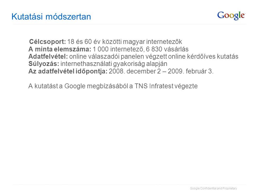 Google Confidential and Proprietary Kutatási módszertan Célcsoport: 18 és 60 év közötti magyar internetezők A minta elemszáma: 1 000 internetező, 6 83