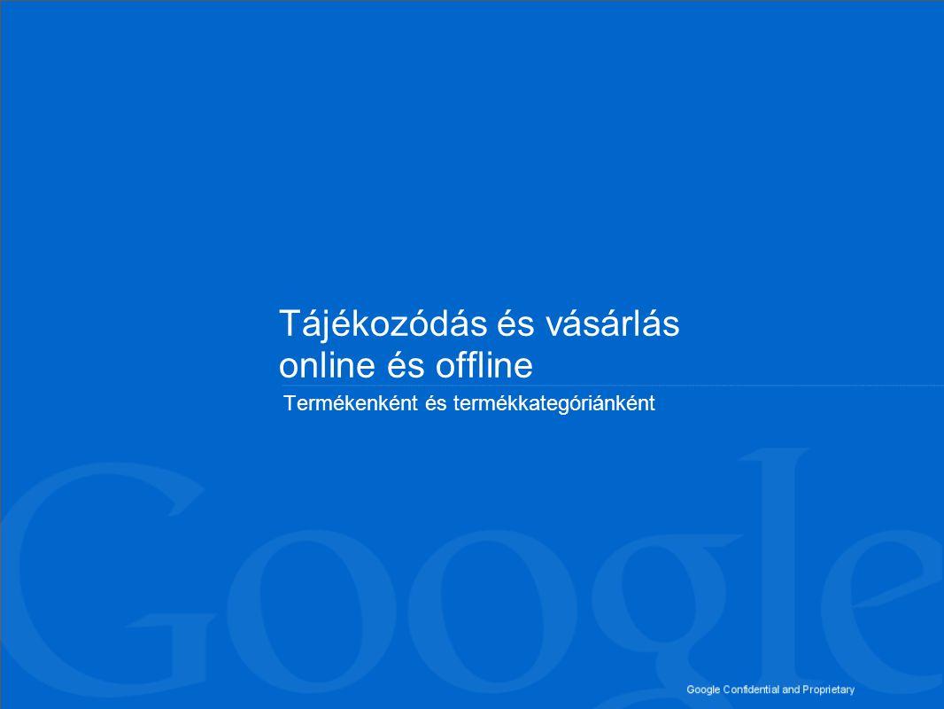 Google Confidential and Proprietary Tájékozódás és vásárlás termékenként (1./2) offline vásárlás online vásárlás 51% 16% 6% 18% 32% 17% 21% 17% 26% Online tájékozódás és 28% 22% 50% 31% 44% 52% 44% 49% 41% 78% 38% 56% 49% 76% 69% 65% 66% 67% Online tájékozódás 18% 58% 41% 4% 3% 22% 62% 44% Pénzügyi termékek Gépjármű-felelősségbiztosítás Lakásbiztosítás Személyi kölcsön 46% 21% 29% 31% 32% 29% offline vásárlás 5% 4% 3% 4% 2% 3% 51% 24% 31% 35% 34% 33% Műszaki cikkek Nyomtatókellékek Számítógépes hardver Digitális fényképező/videokamera Számítógépes perifériák Vizuális eszközök (TV, házimozi stb) Audioeszközök (HiFi, iPod stb) online vásárlás Offline tájékozódás és Offline tájékozódás Szegmens: legalább egy terméket vásárolt a megfelelő kategóriában az elmúlt 12 hónap során Bázis: 18-60 éves magyar internetezők (N=1000)