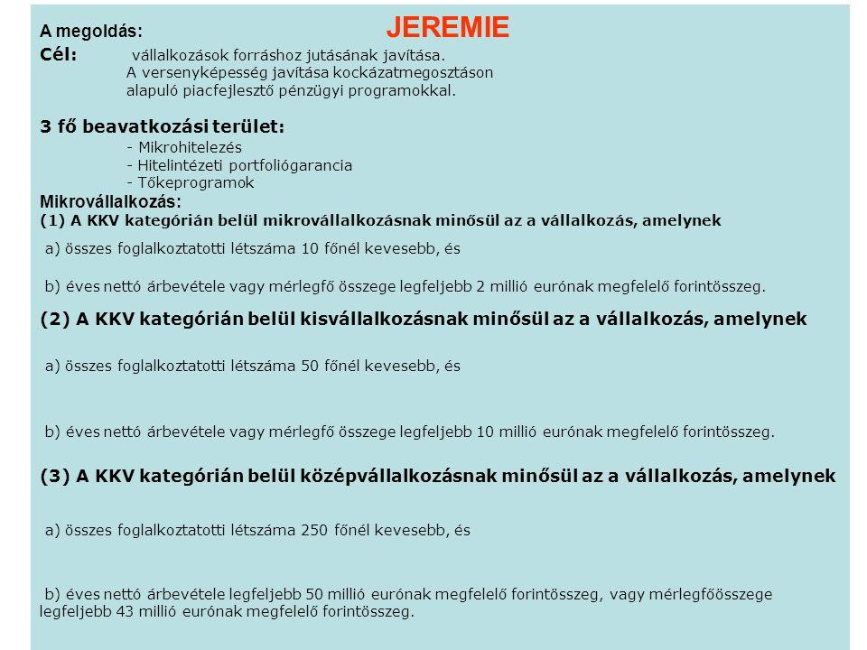 A megoldás: JEREMIE Cél: vállalkozások forráshoz jutásának javítása.