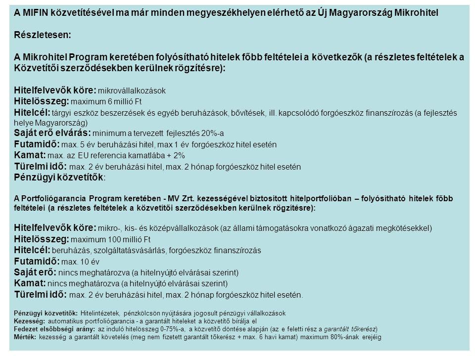 A MIFIN közvetítésével ma már minden megyeszékhelyen elérhető az Új Magyarország Mikrohitel Részletesen: A Mikrohitel Program keretében folyósítható hitelek főbb feltételei a következők (a részletes feltételek a Közvetítői szerződésekben kerülnek rögzítésre): Hitelfelvevők köre: mikrovállalkozások Hitelösszeg: maximum 6 millió Ft Hitelcél: tárgyi eszköz beszerzések és egyéb beruházások, bővítések, ill.