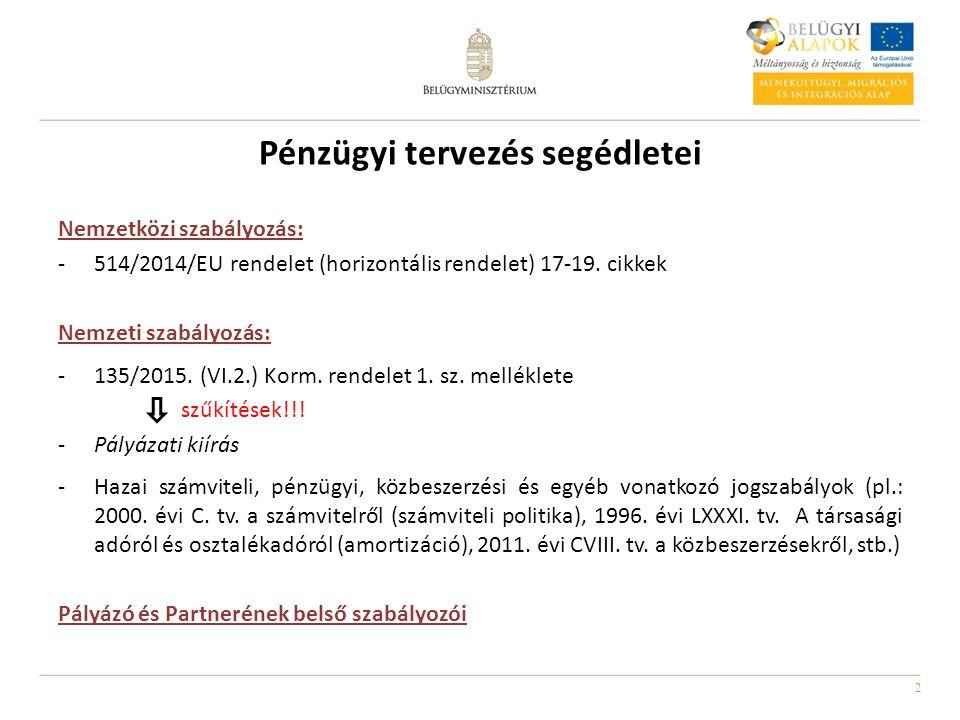2 Pénzügyi tervezés segédletei Nemzetközi szabályozás: -514/2014/EU rendelet (horizontális rendelet) 17-19. cikkek Nemzeti szabályozás: -135/2015. (VI