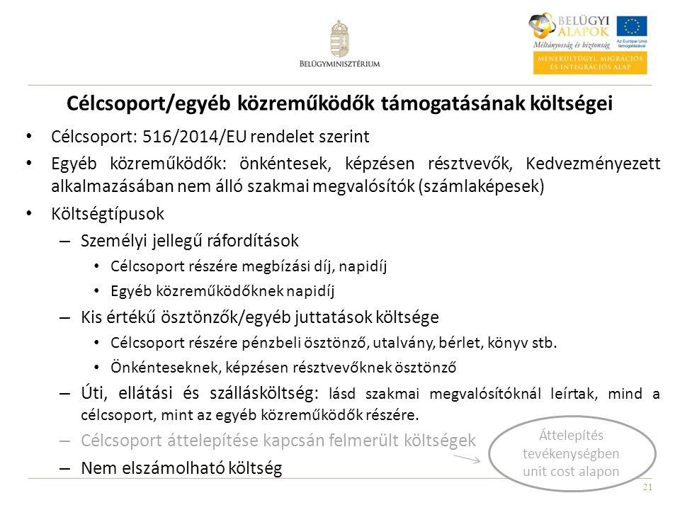 21 Célcsoport/egyéb közreműködők támogatásának költségei Célcsoport: 516/2014/EU rendelet szerint Egyéb közreműködők: önkéntesek, képzésen résztvevők, Kedvezményezett alkalmazásában nem álló szakmai megvalósítók (számlaképesek) Költségtípusok – Személyi jellegű ráfordítások Célcsoport részére megbízási díj, napidíj Egyéb közreműködőknek napidíj – Kis értékű ösztönzők/egyéb juttatások költsége Célcsoport részére pénzbeli ösztönző, utalvány, bérlet, könyv stb.
