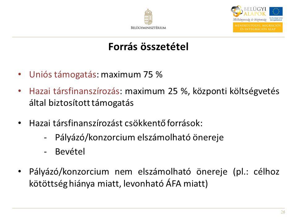 26 Forrás összetétel Uniós támogatás: maximum 75 % Hazai társfinanszírozás: maximum 25 %, központi költségvetés által biztosított támogatás Hazai társfinanszírozást csökkentő források: -Pályázó/konzorcium elszámolható önereje -Bevétel Pályázó/konzorcium nem elszámolható önereje (pl.: célhoz kötöttség hiánya miatt, levonható ÁFA miatt)