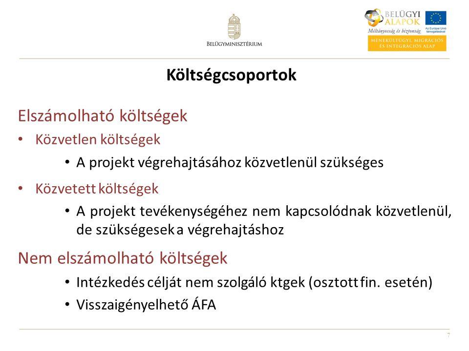 7 Költségcsoportok Elszámolható költségek Közvetlen költségek A projekt végrehajtásához közvetlenül szükséges Közvetett költségek A projekt tevékenysé