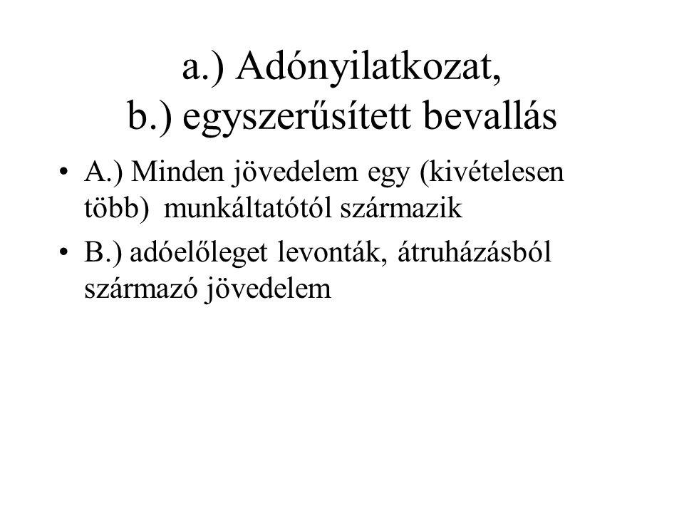 a.) Adónyilatkozat, b.) egyszerűsített bevallás A.) Minden jövedelem egy (kivételesen több) munkáltatótól származik B.) adóelőleget levonták, átruházásból származó jövedelem