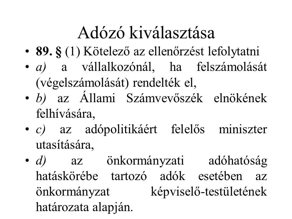 Adózó kiválasztása 89.