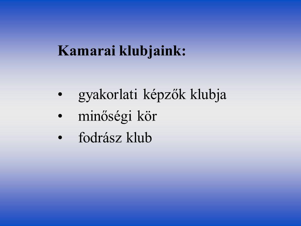 Kamarai klubjaink: gyakorlati képzők klubja minőségi kör fodrász klub