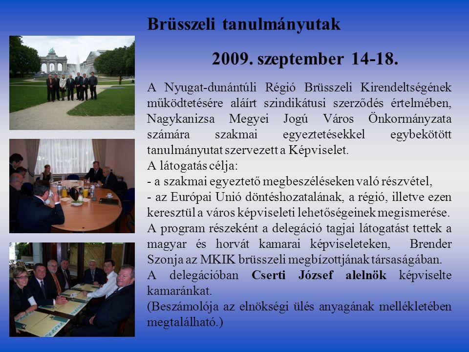 2009. szeptember 14-18. A Nyugat-dunántúli Régió Brüsszeli Kirendeltségének működtetésére aláírt szindikátusi szerződés értelmében, Nagykanizsa Megyei