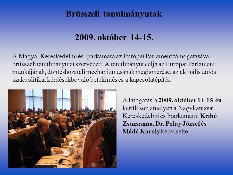 2009. október 14-15. A Magyar Kereskedelmi és Iparkamara az Európai Parlament támogatásával brüsszeli tanulmányutat szervezett. A tanulmányút célja az
