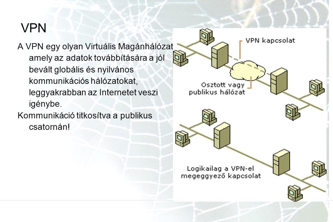 VPN A VPN egy olyan Virtuális Magánhálózat, amely az adatok továbbítására a jól bevált globális és nyilvános kommunikációs hálózatokat, leggyakrabban az Internetet veszi igénybe.