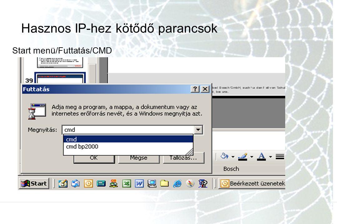 Hasznos IP-hez kötődő parancsok Start menü/Futtatás/CMD