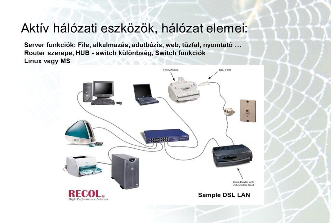 Aktív hálózati eszközök, hálózat elemei: Server funkciók: File, alkalmazás, adatbázis, web, tűzfal, nyomtató … Router szerepe, HUB - switch különbség,