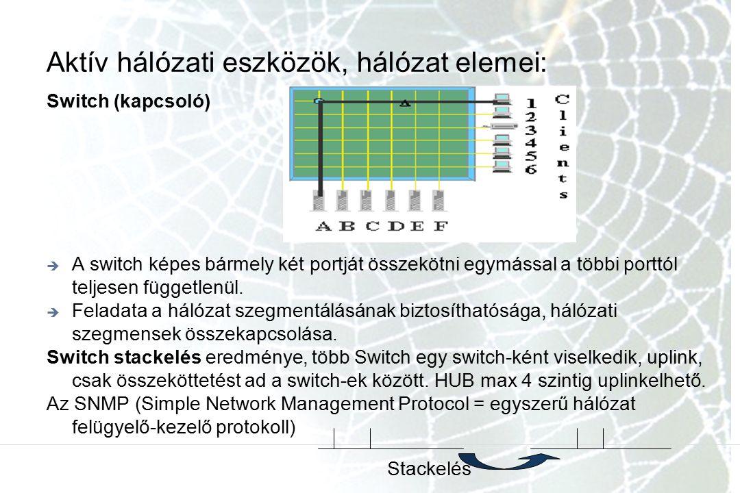 Aktív hálózati eszközök, hálózat elemei: Switch (kapcsoló)  A switch képes bármely két portját összekötni egymással a többi porttól teljesen függetlenül.