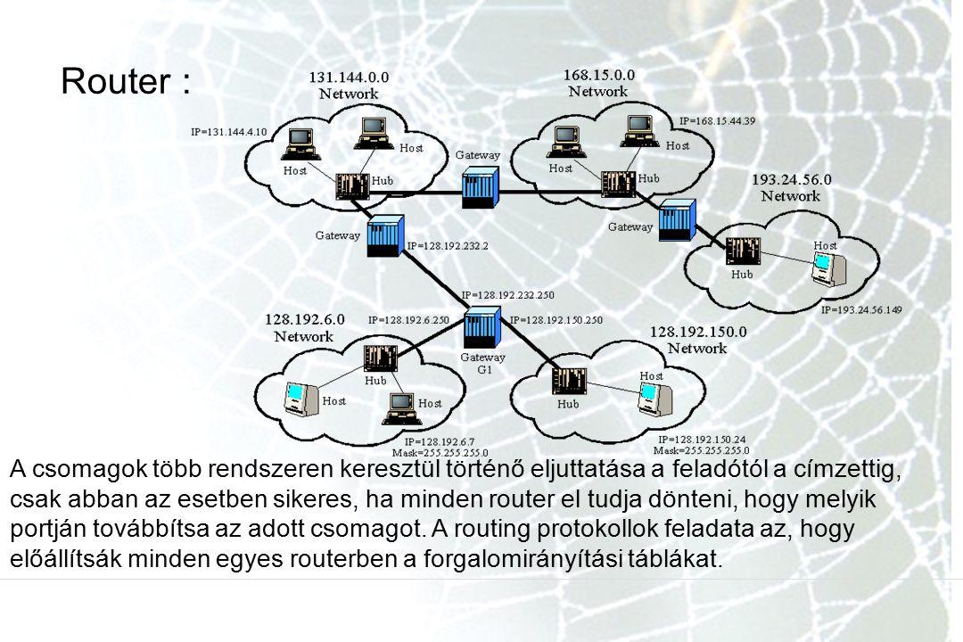 Router : A csomagok több rendszeren keresztül történő eljuttatása a feladótól a címzettig, csak abban az esetben sikeres, ha minden router el tudja dönteni, hogy melyik portján továbbítsa az adott csomagot.